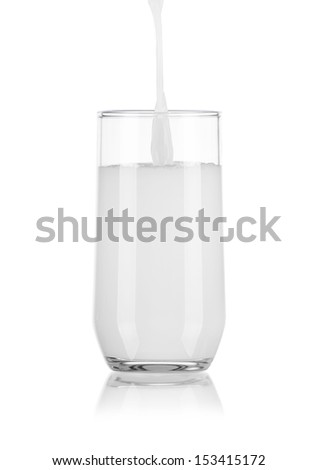 Pouring Milk in Glass Isolated on White Background - stock photo