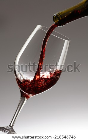 Pouring red wine from a bottle to a glass