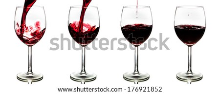 pouring red wine isolated on white background - stages - stock photo