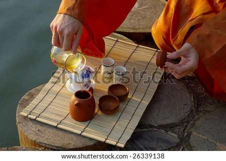 pouring tea during tea ceremony
