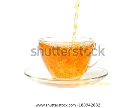 pouring tea on white backgruound