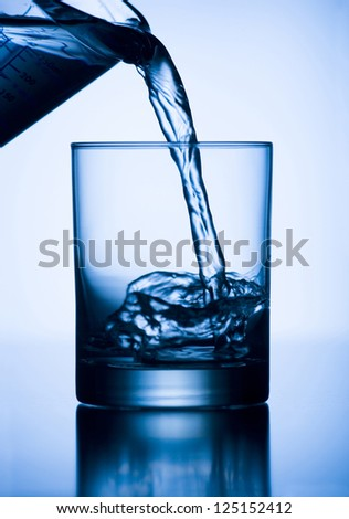 Pouring water from a pitcher into a glass