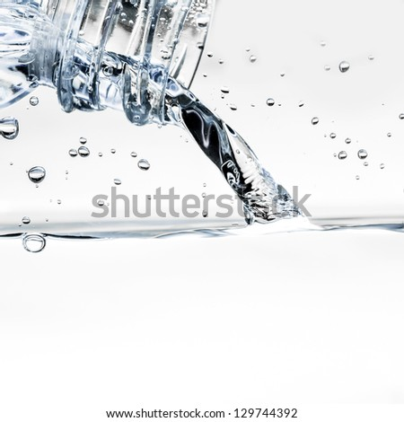 Pouring water from bottle closely