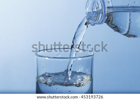 Pouring water from bottle to glass with blue background