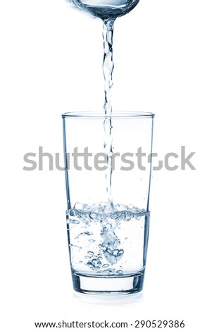 Pouring water from glass pitcher on white background