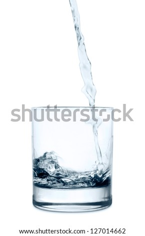 pouring water in a glass on white background