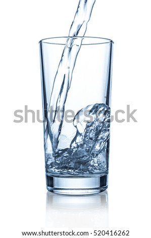 Pouring water in glass on white background