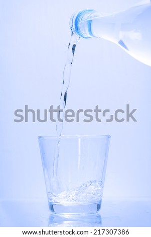 Pouring water into glass for Drinking