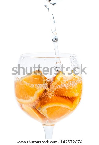 Pouring Water into Orange In Glass