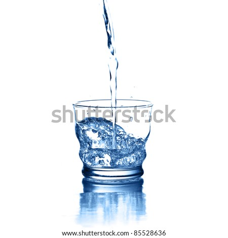 pouring water on glass on a white background