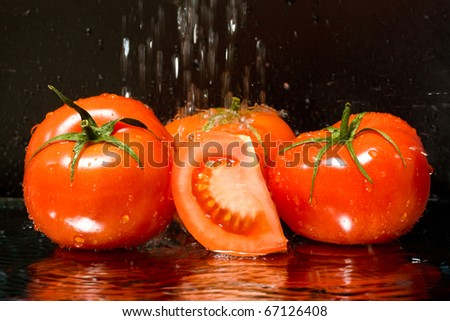 Pouring water on ripe tomatoes - stock photo