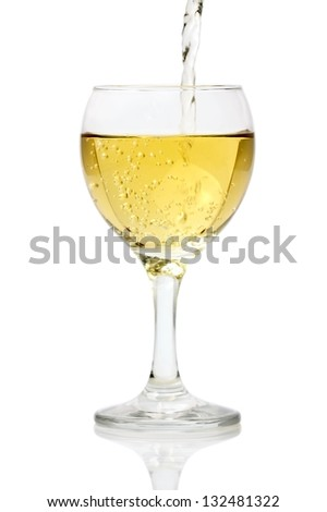 Pouring White Wine. Isolated with clipping path.