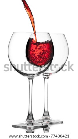 pouring wine into glass - stock photo