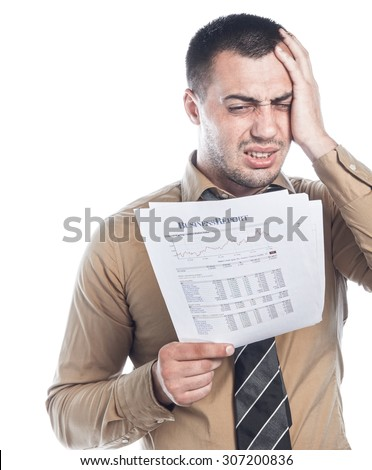 Pout young businessman holding and looking papers, isolated on white background. Shocked employee man. Failure concept - stock photo