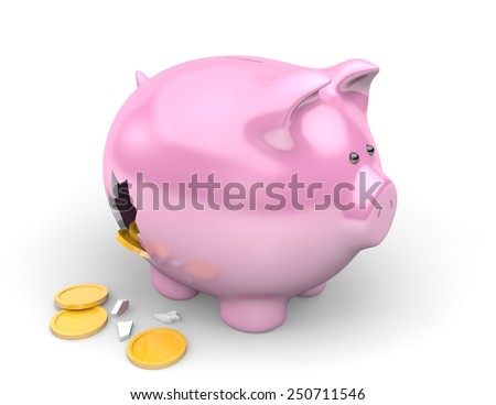 Poverty and financial debt concept of savings spilling from a broken piggy bank - stock photo