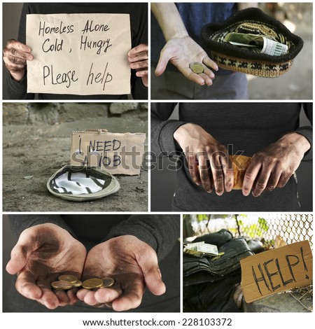Poverty concept. Homeless men ask for help collage - stock photo