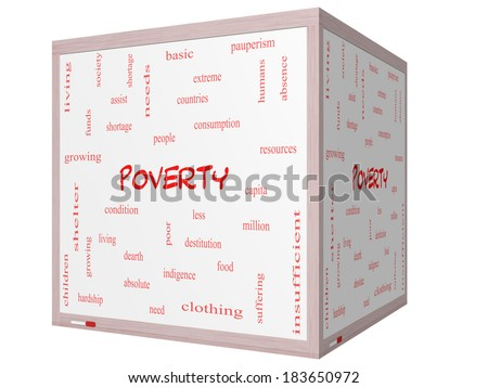 Poverty Word Cloud Concept on a 3D cube Whiteboard with great terms such as poor, condition, people and more. - stock photo