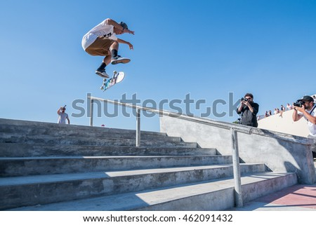 POVOA DE VARZIM, PORTUGAL - JULY 24, 2016: Gustavo Ribeiro during  the 2nd Stage of DC Skate Challenge by Moche.