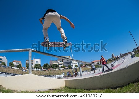 POVOA DE VARZIM, PORTUGAL - JULY 24, 2016: Joao Fernandes during  the 2nd Stage of DC Skate Challenge by Moche.