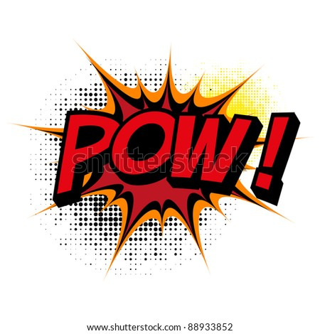 Pow. Comic book explosion. Vector version available in my gallery. - stock photo