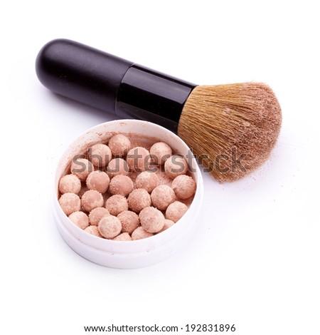 Powder ball with brush over white background  - stock photo