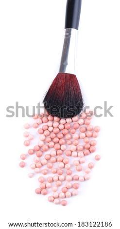 Powder balls and brush isolated on white - stock photo