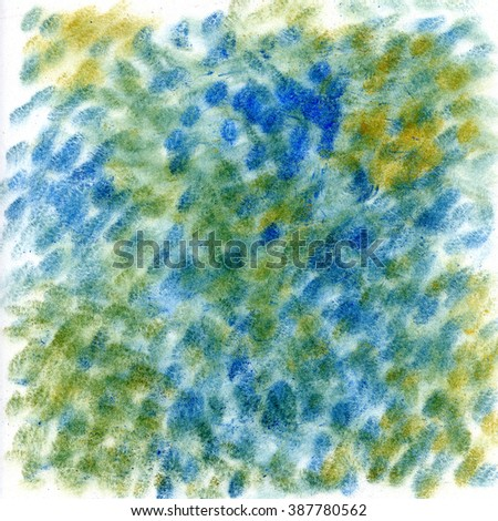 powder - dry color - hand painted abstract texture - blue - green - yellow dots
