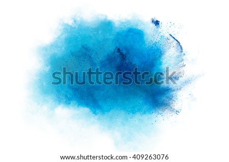 Powder explosion. Closeup of a blue dust particle explosion isolated on white. Abstract background - stock photo