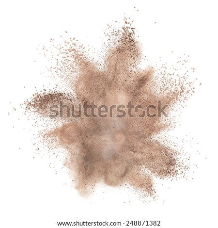 powder foundation explosion isolated on white background - stock photo