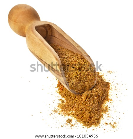 powder fragrant spice on the wooden scoop isolated on white background - stock photo