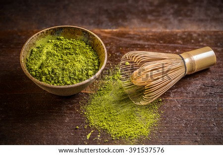 Powder green tea with whisk, matcha