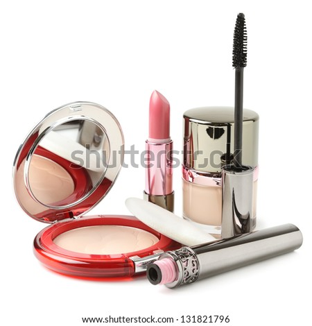 Powder, lipstick, mascara, face cream isolated on white - stock photo