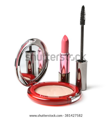 Powder, lipstick, mascara isolated on white - stock photo