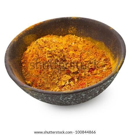 powder spice on dish  isolated on white background - stock photo