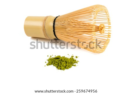 powdered green tea Matcha and bamboo whisk - stock photo