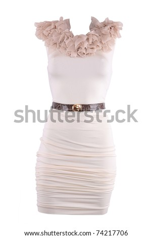 Powdery color cocktail designer dress with brown belt, isolated on white - stock photo