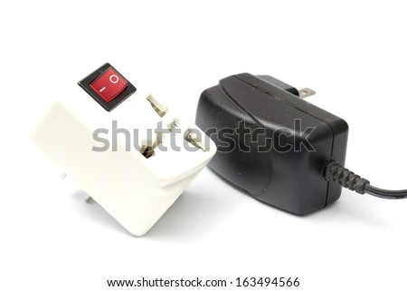Power accessory device power adaptor and female extention switch - stock photo