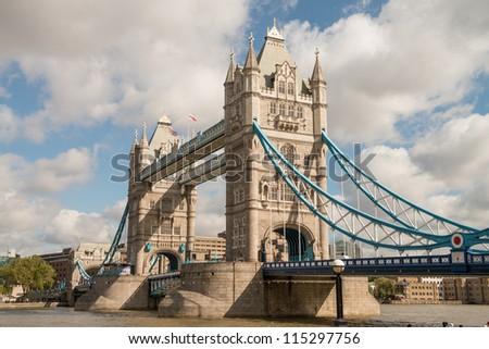 Power and Magnificence of Tower Bridge Structure over river Thames - London - UK - stock photo