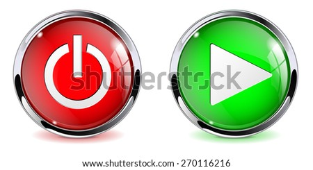 Power and play buttons - web elements. isolated on white. Raster version - stock photo