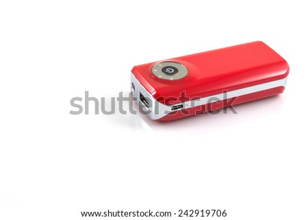 Power bank, small device that have electricity to recharge many kind of smart phone via USB on withe background - stock photo