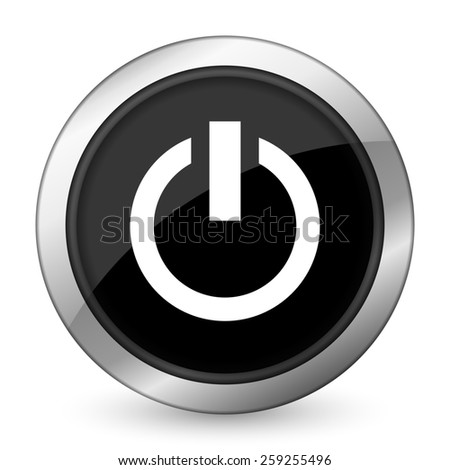 power black icon on off sign  - stock photo