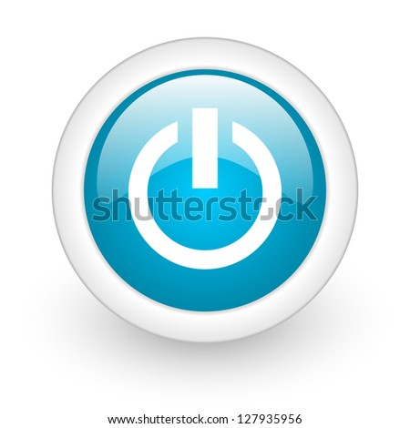 power blue circle glossy web icon on white background