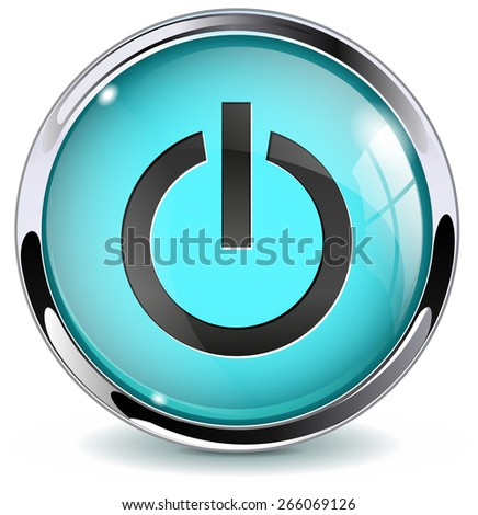 Power button. Glossy icon with metallic frame. Isolated on white background. Raster version - stock photo
