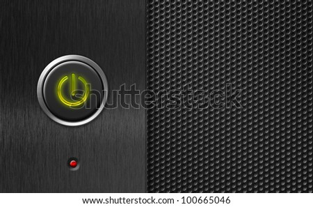 power button on pc panel - stock photo