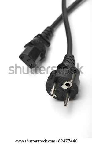 power cable before white background - stock photo