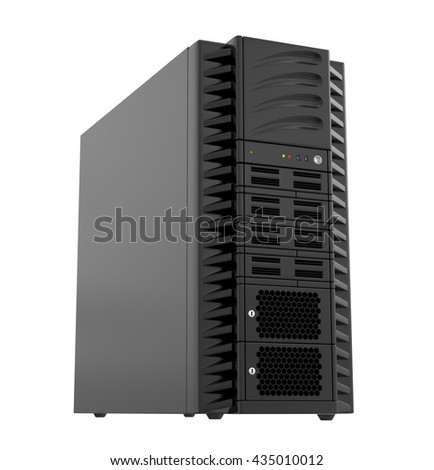 Power Computer, 3d illustration with a work path - stock photo