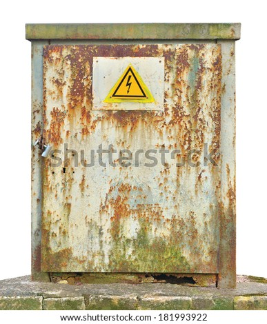 Power distribution board electric wiring switchboard panelboard panel outdoor unit, old aged weathered vintage grunge rust compartment box, yellow high voltage warning sign, isolated grungy closeup  - stock photo