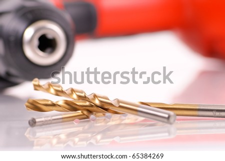 Power Drill Titanium Coated Bits - stock photo