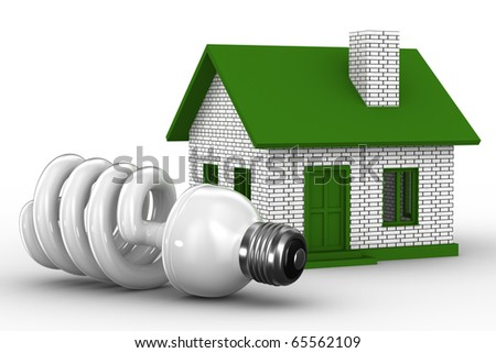 Power efficiency of house. Isolated 3D image - stock photo
