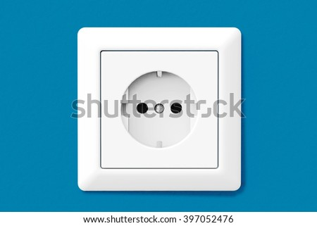 Power Electric Socket on a blue wallpaper wall - stock photo